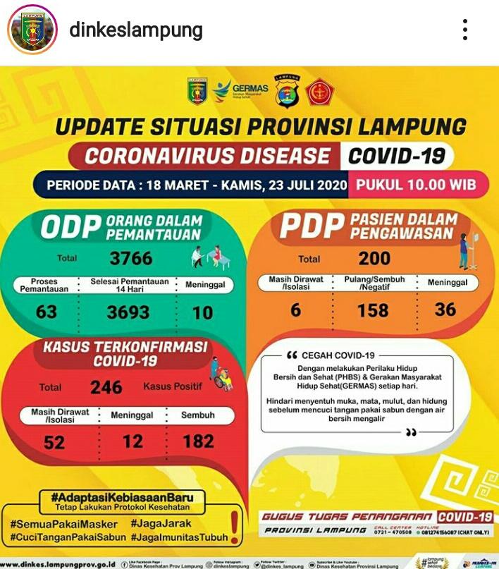 Update Kasus Covid-19 Lampung 23 Juli 2020: Positif Corona Bertambah Sembilan Orang, PDP Satu, ODP Dua
