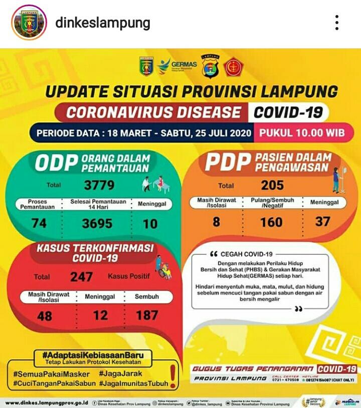 Update Kasus Covid-19 Lampung 25 Juli 2020: Positif dan PDP Corona Bertambah Satu Orang, ODP 13