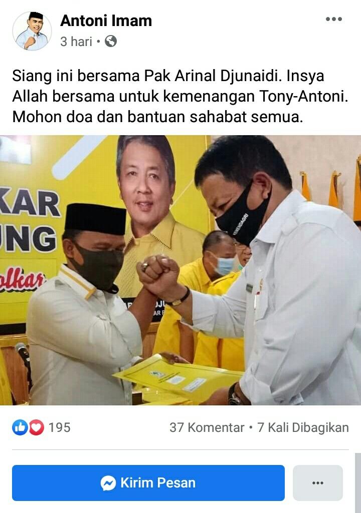 Bacawabup Lamsel Konfirmasi Positif Covid-19, Sempat Bertemu Gubernur Lampung dan Wartawan