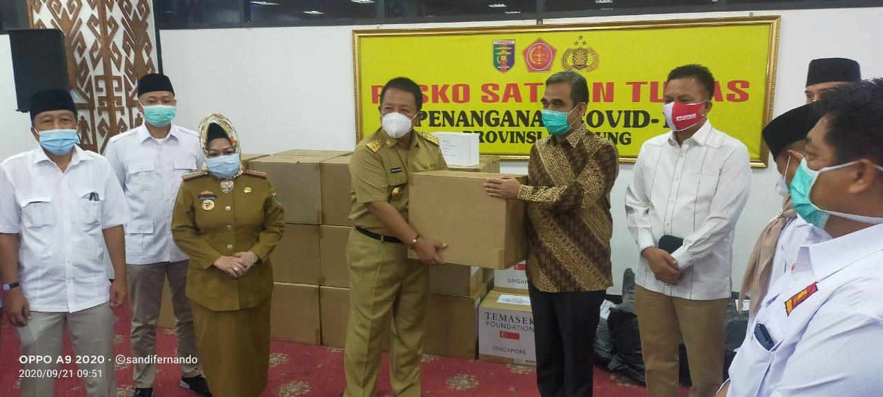 Pemprov Lampung Terima Bantuan Alat Kesehatan Covid-19 dari DPP Partai Gerindra
