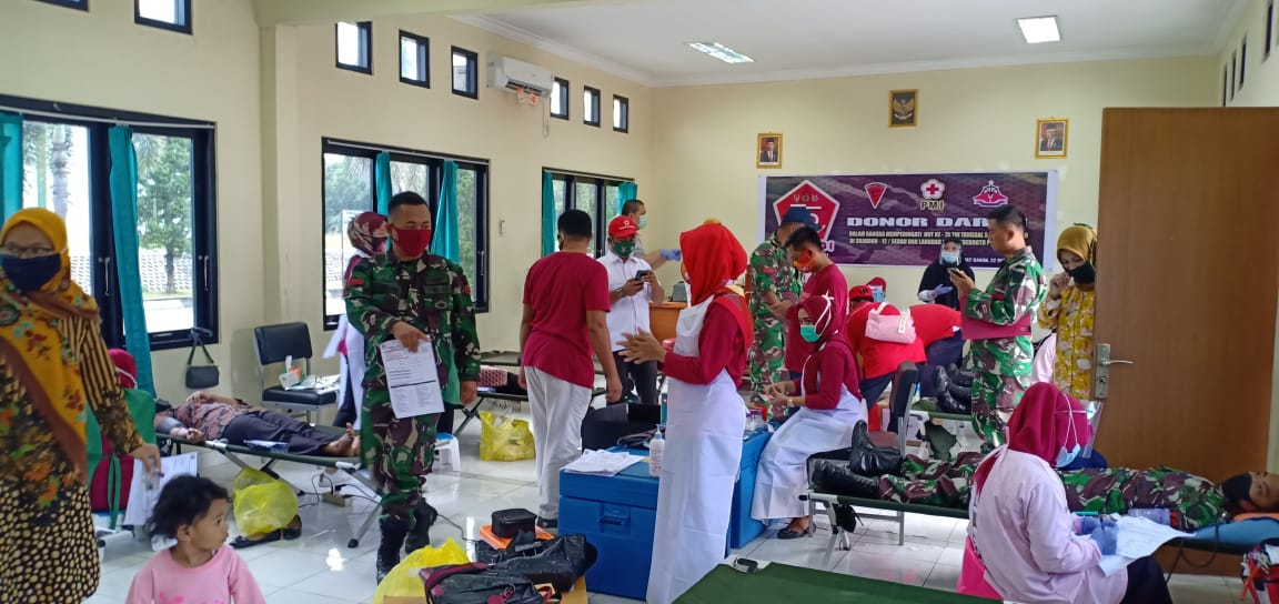 Songsong HUT TNI Ke-75, Skuadron dan Lanudad Gatsu Way Kanan Bhakti Sosial Donor Darah