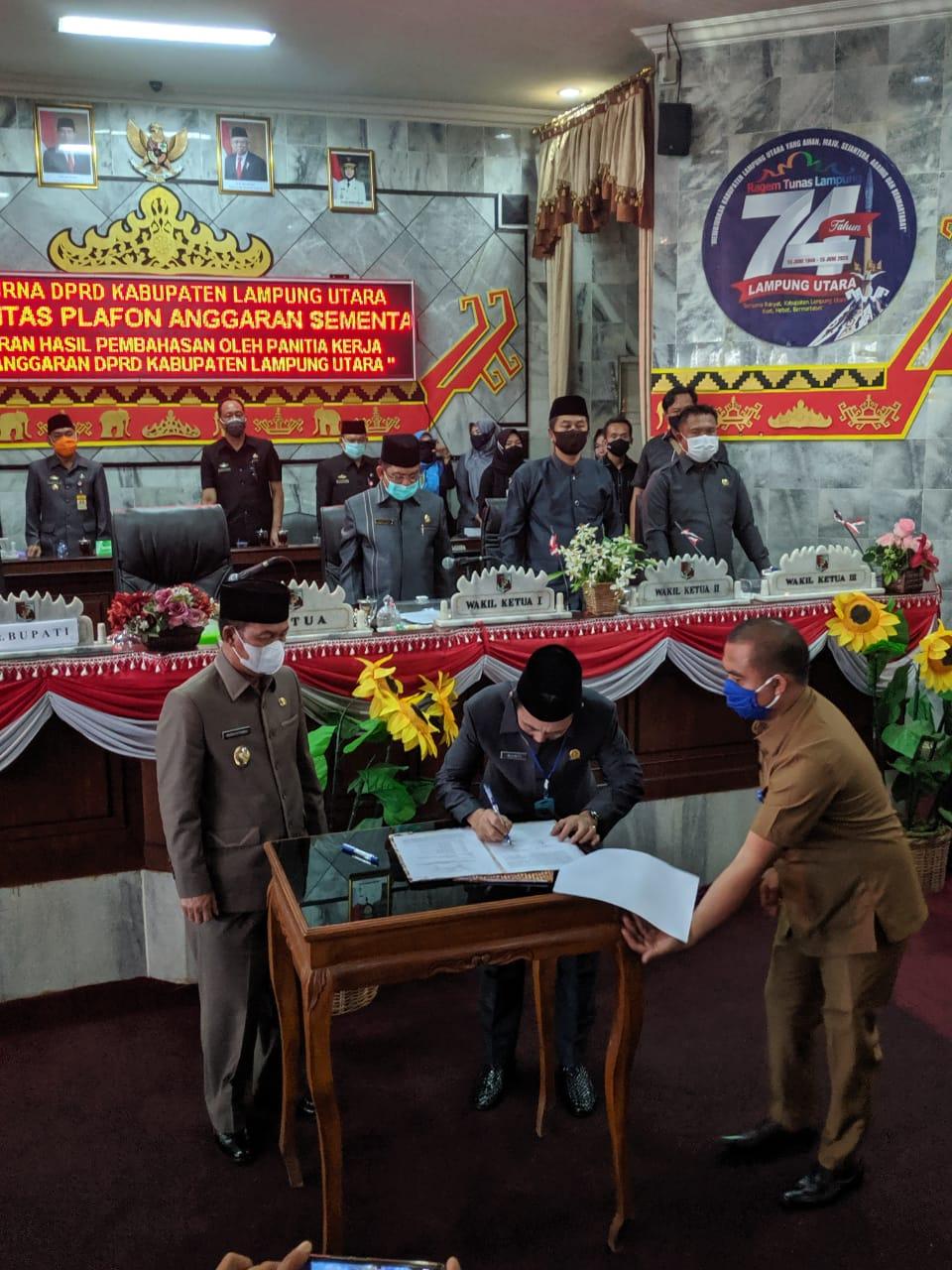 DPRD Lampung Utara Gelar Rapat Paripurna Rancangan Perubahan KUA-PPAS